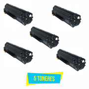 Kit com 5 Toner Compatível HP CE285A 85A 285A CE285AB P1102 P1102W M1132 M1210 M1212 M1130