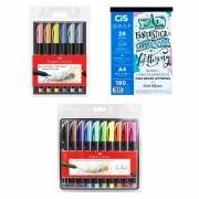 Kit Lettering Bloco de Exercícios Cis + 16 Brush Pen Faber-Castell
