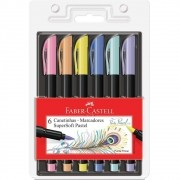 Marcador Supersoft Brush 6 Cores Pastel Faber-Castell