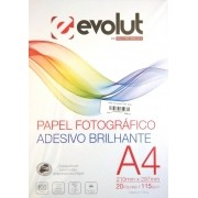 Papel Fotográfico A4 Adesivo Brilhante 115g - 20 folhas