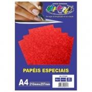 Papel Glitter A4 180g Vermelho 5 folhas Off Paper