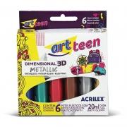 Tinta Dimensional 3D Metallic 6 Cores Acrilex