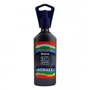 Tinta Dimensional Metallic Relevo 3D 35ml Preto Acrilex