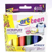 Tinta para Tecido Expansível Acripuff 6 Cores 20ml Acrilex