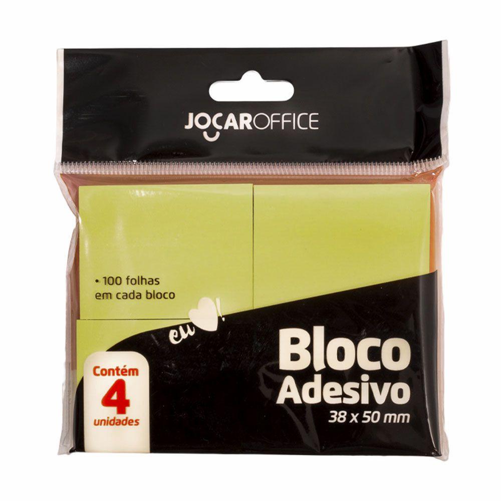 Bloco Adesivo 38x50mm Amarelo 4 Blocos c/ 100 Folhas Jocar Office