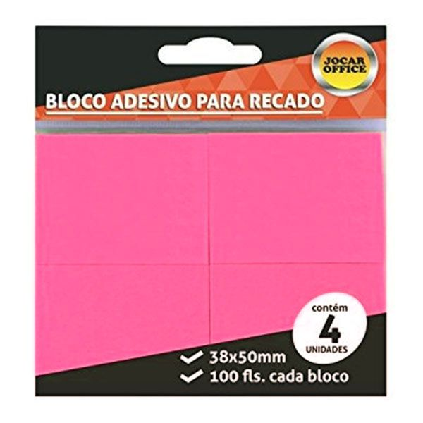 Bloco Adesivo 38x50mm Rosa 4 Blocos c/ 100 Folhas Jocar Office