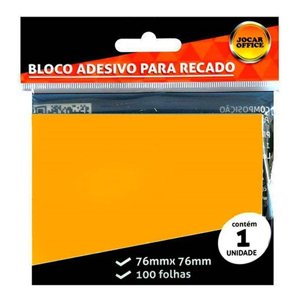 Bloco Adesivo 76x76mm Laranja 100 Folhas Jocar Office