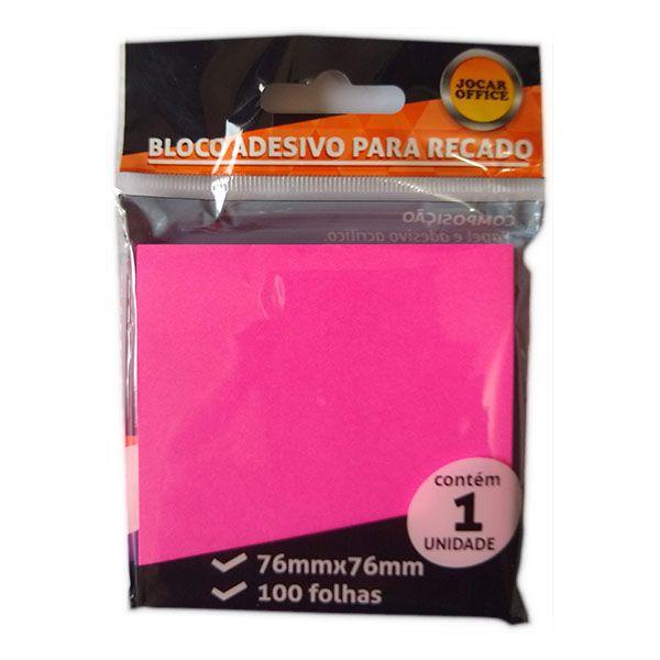 Bloco Adesivo 76x76mm Rosa 100 Folhas Jocar Office  - INK House
