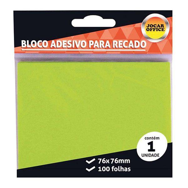 Bloco Adesivo 76x76mm Verde 100 Folhas Jocar Office  - INK House