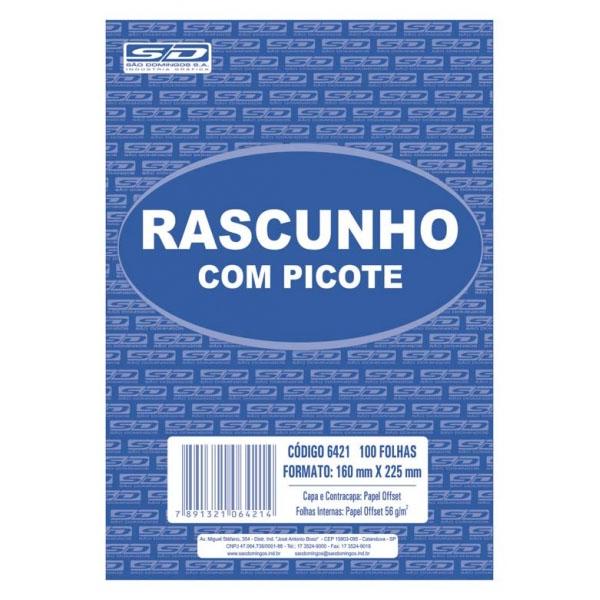 Bloco de Rascunho com Picote 160x225mm Branco 100 Folhas São Domingos