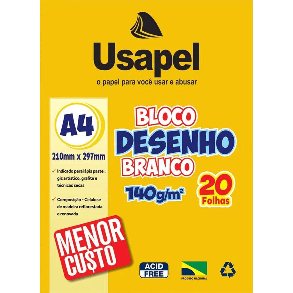 Bloco para Desenho A4 140g 20 folhas Branco Usapel