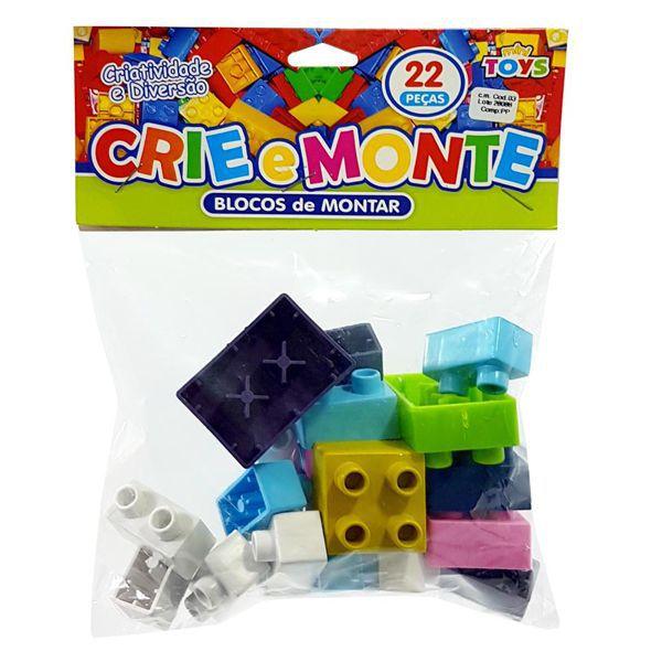 Blocos de Montar Crie e Monte 22 Peças Brinquedo Educativo MiniToys