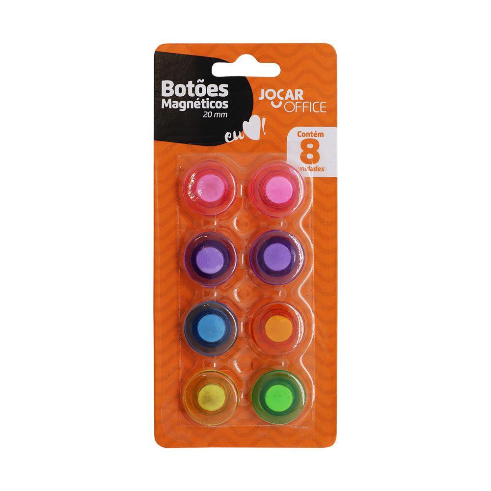 Botões Magnéticos 20mm 8 Unidades Colorido Jocar Office