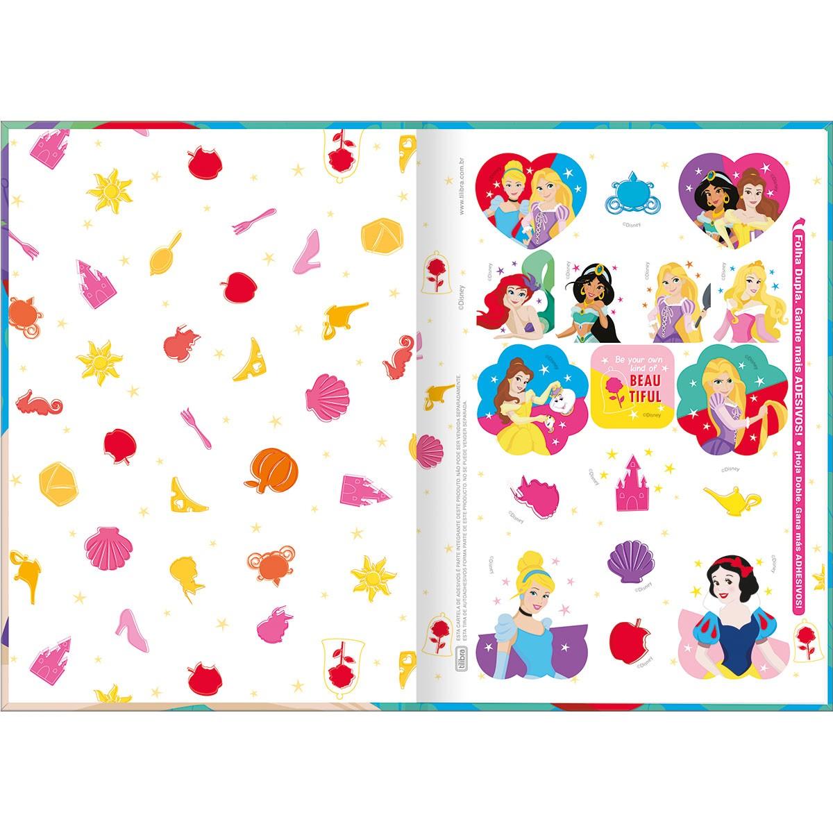 Caderno Brochura 1/4 CD 80 Folhas Disney Princesa 3 Tilibra