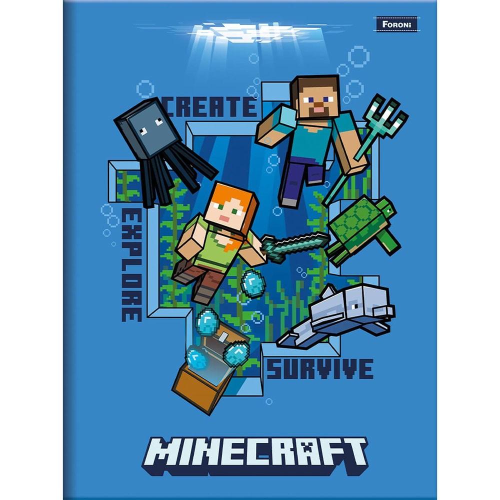 Caderno Brochura 1/4 CD 96 Folhas Minecraft 7 Foroni