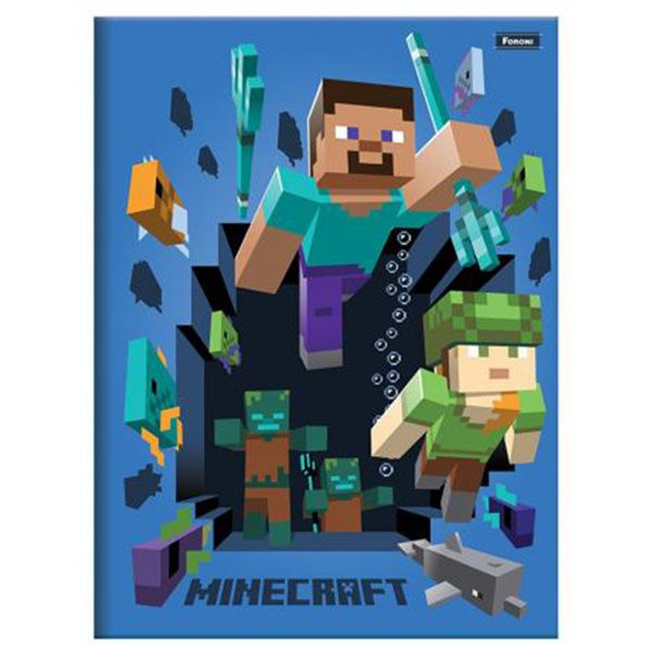Caderno Brochurão Capa Dura 96 Folhas Foroni Minecraft 4  - INK House