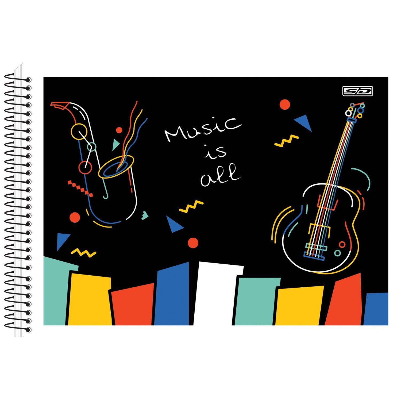 Caderno de Música Espiral 1/4 CF 40 Folhas São Domingos