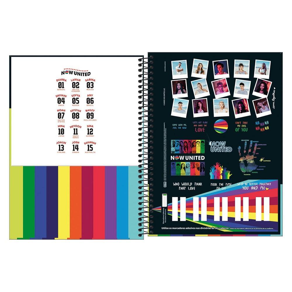 Caderno Universitário 10x1 CD 160 Folhas Now United 4 Tilibra