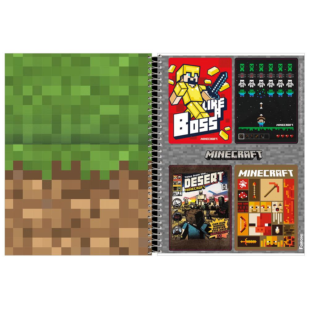 Caderno Universitário 10x1 CD 200 Folhas Minecraft 1 Foroni