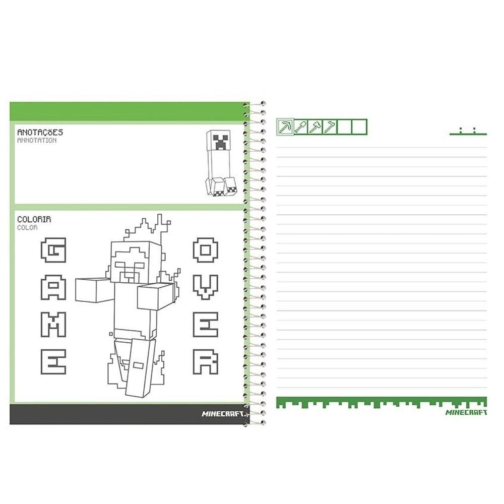 Caderno Universitário 10x1 CD 200 Folhas Minecraft 5 Foroni