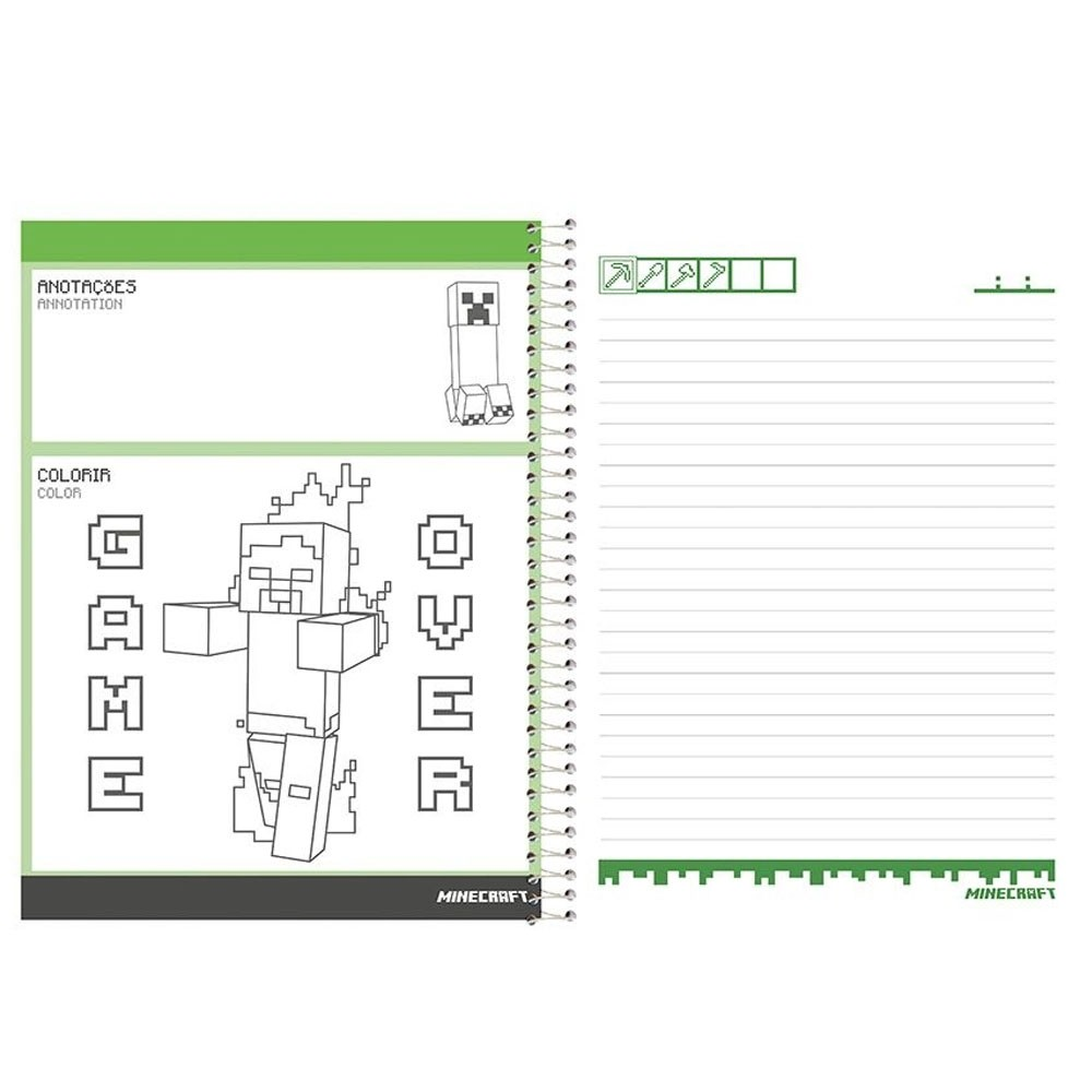 Caderno Universitário 10x1 CD 200 Folhas Minecraft 6 Foroni
