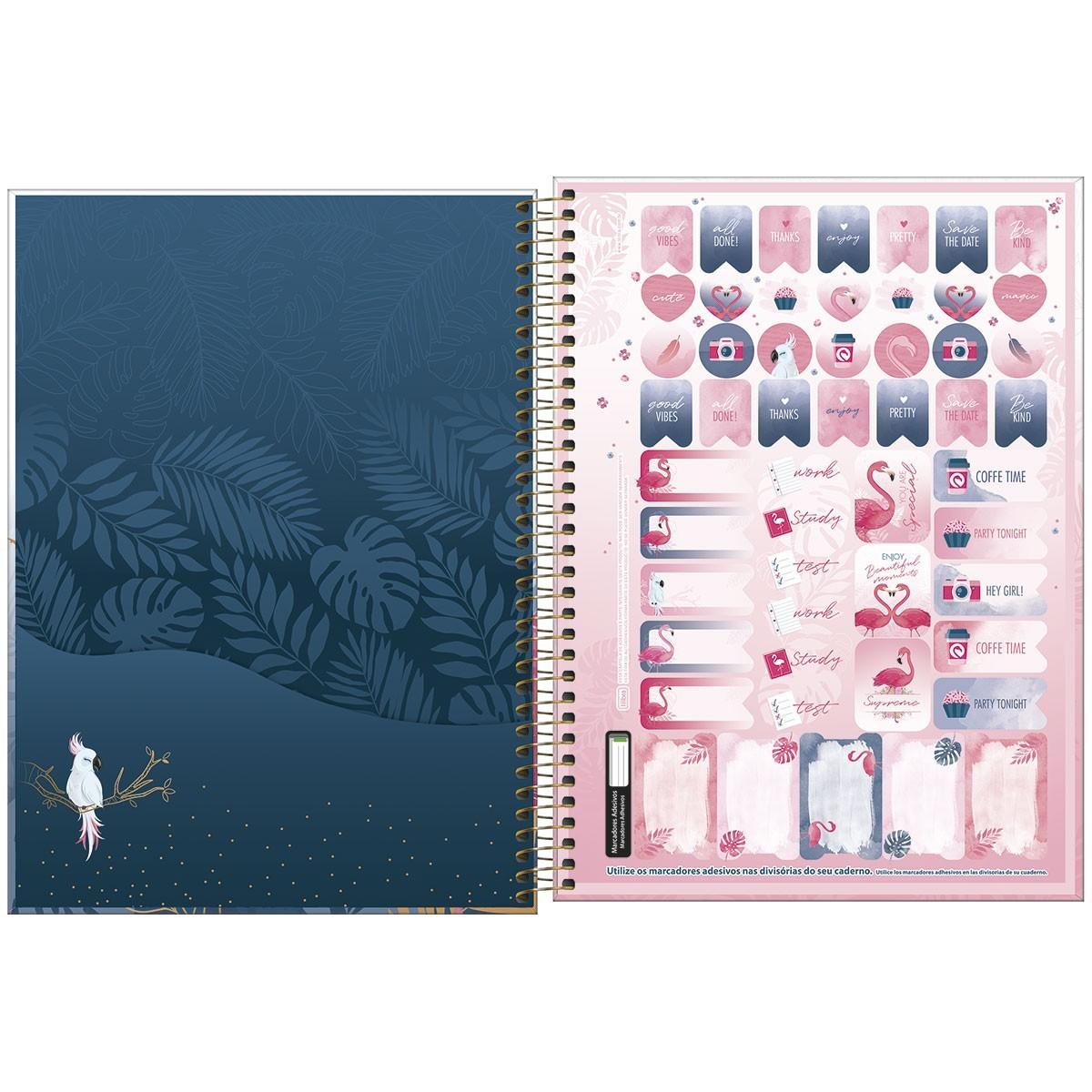Caderno Universitário 1x1 CD 80 Folhas Aloha 3 Tilibra