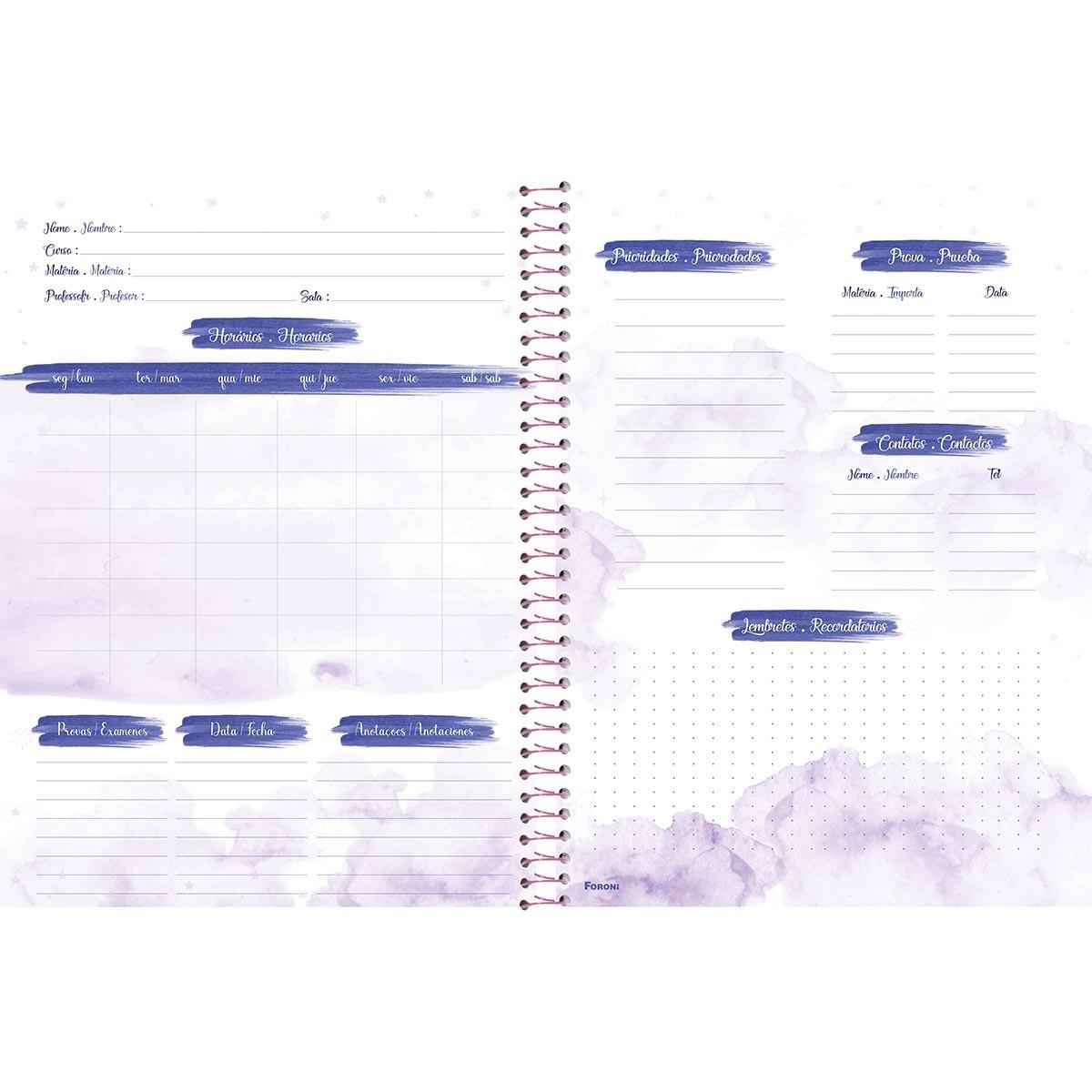Caderno Universitário 1x1 CD 80 Folhas Cosmos 3 Foroni