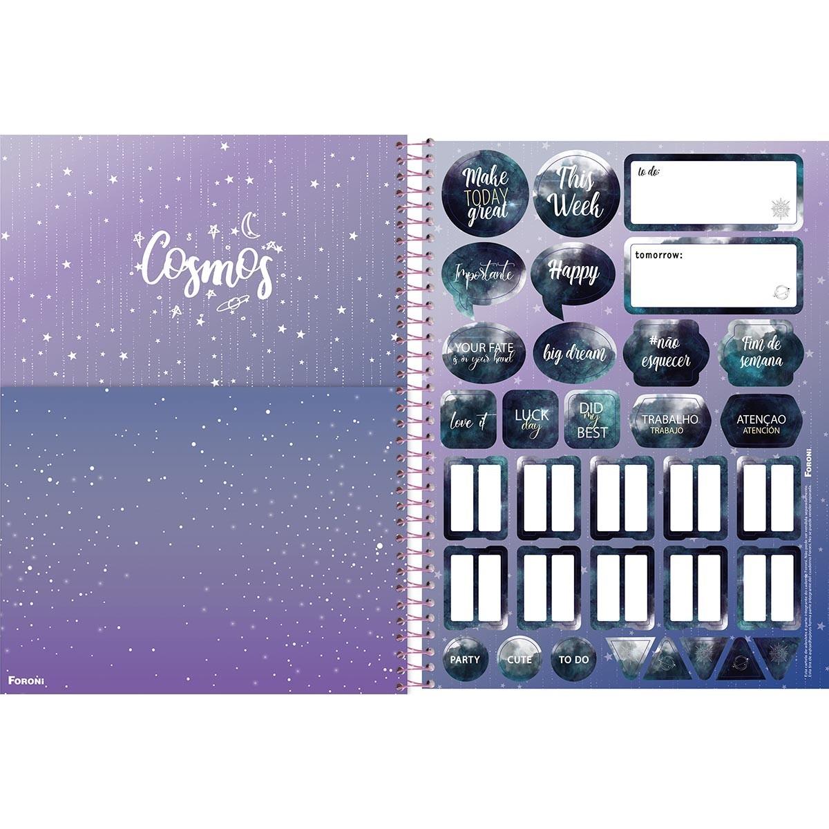 Caderno Universitário 1x1 CD 80 Folhas Cosmos 4 Foroni