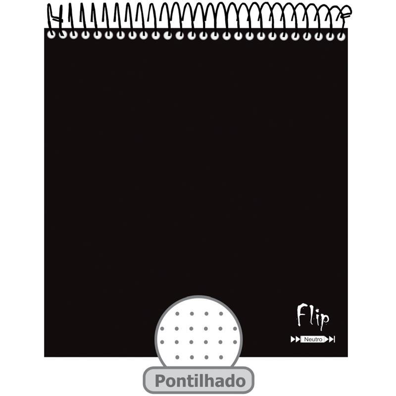 Caderno Universitário 1x1 CD 80 Folhas Flip Neutro Pontilhado Tamoio