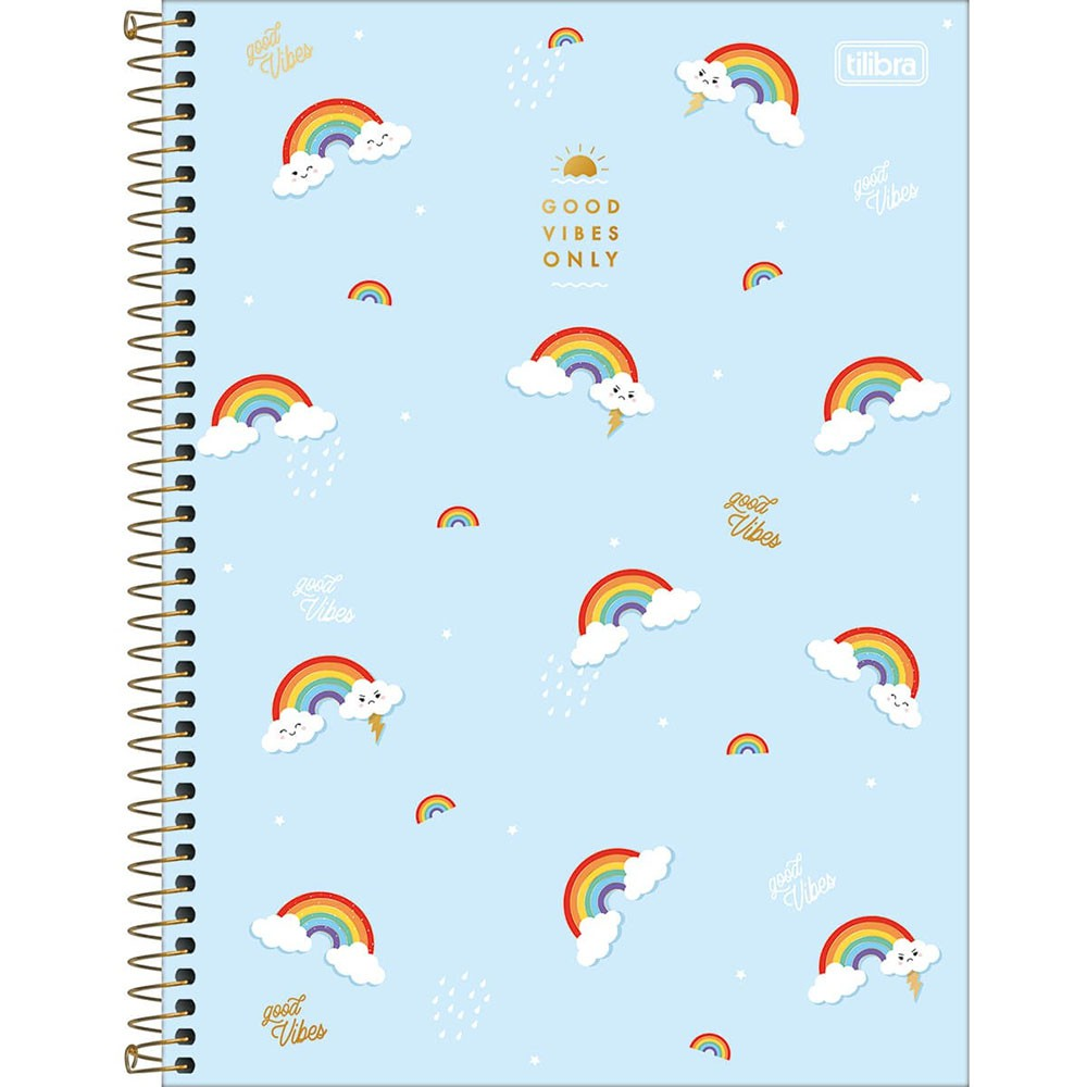 Caderno Universitário 1x1 CD 80 Folhas Rainbow 3 Tilibra  - INK House