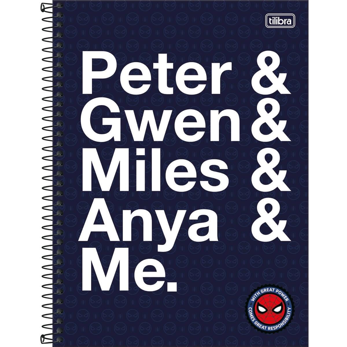 Caderno Universitário 1x1 CD 80 Folhas Spider Man Light 2 Tilibra