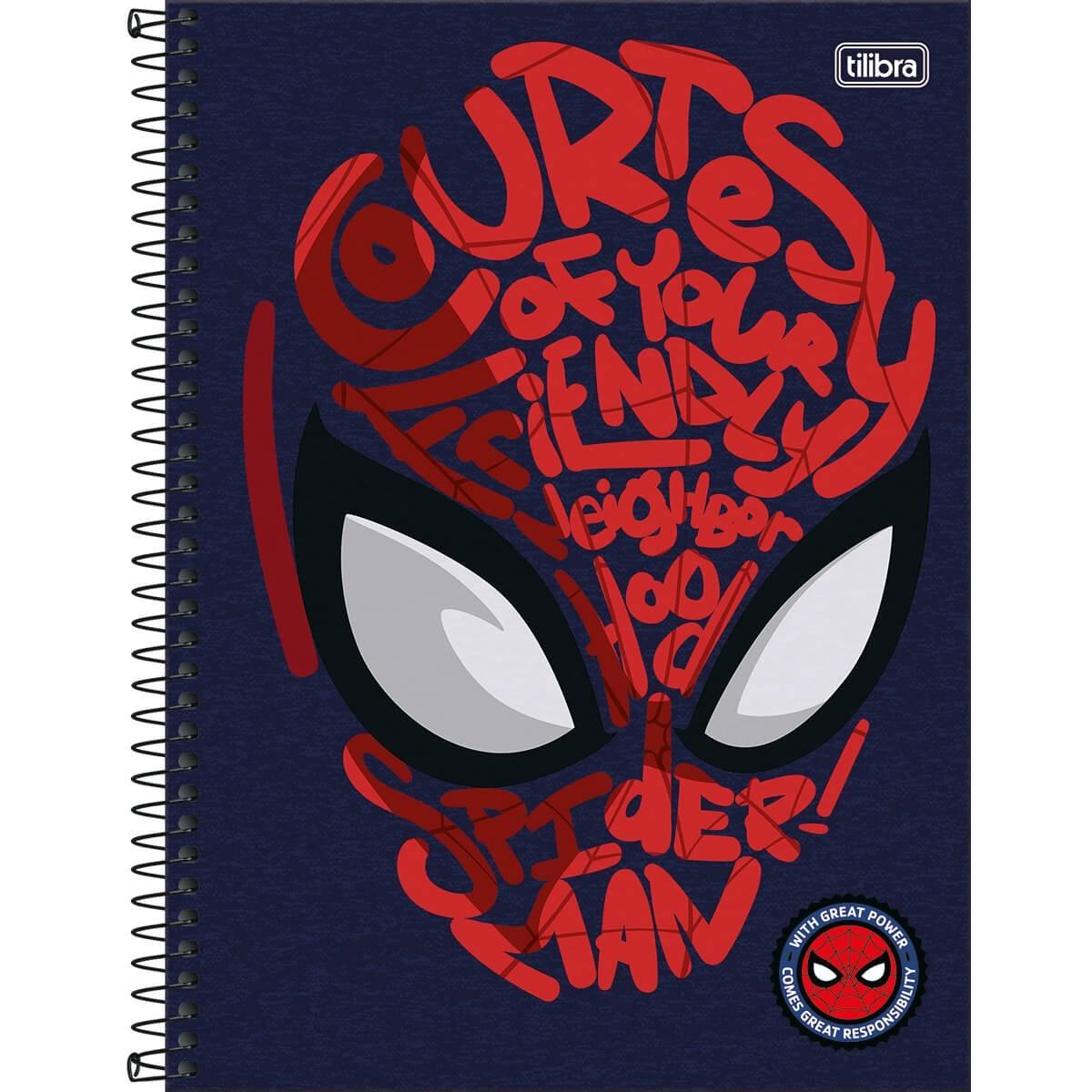 Caderno Universitário 1x1 CD 80 Folhas Spider Man Light 3 Tilibra