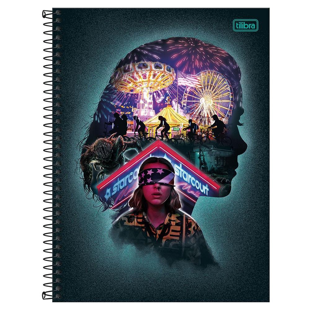 Caderno Universitário 1x1 CD 80 Folhas Stranger Things 4 Tilibra