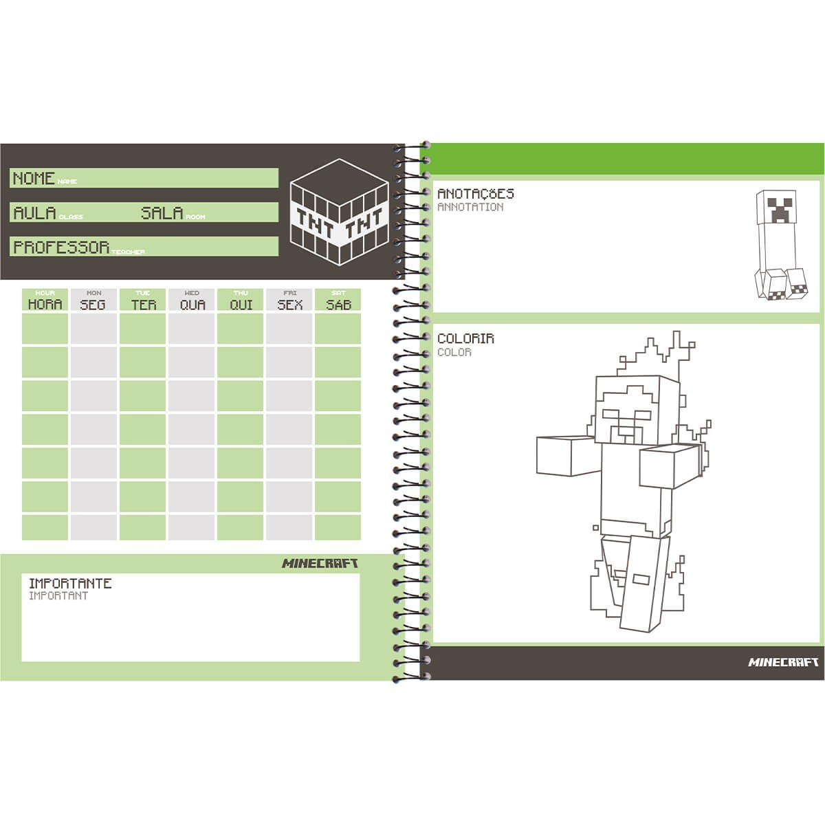 Caderno Universitário 1x1 CD 96 Folhas Minecraft 6 Foroni  - INK House