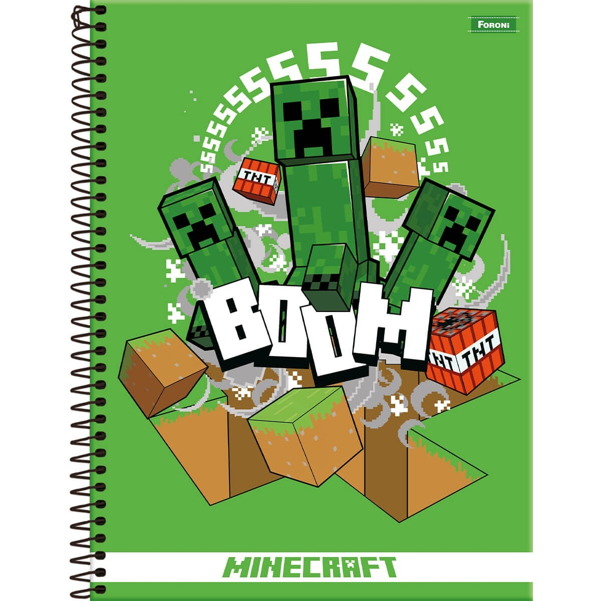 Caderno Universitário 1x1 CD 96 Folhas Minecraft 7 Foroni