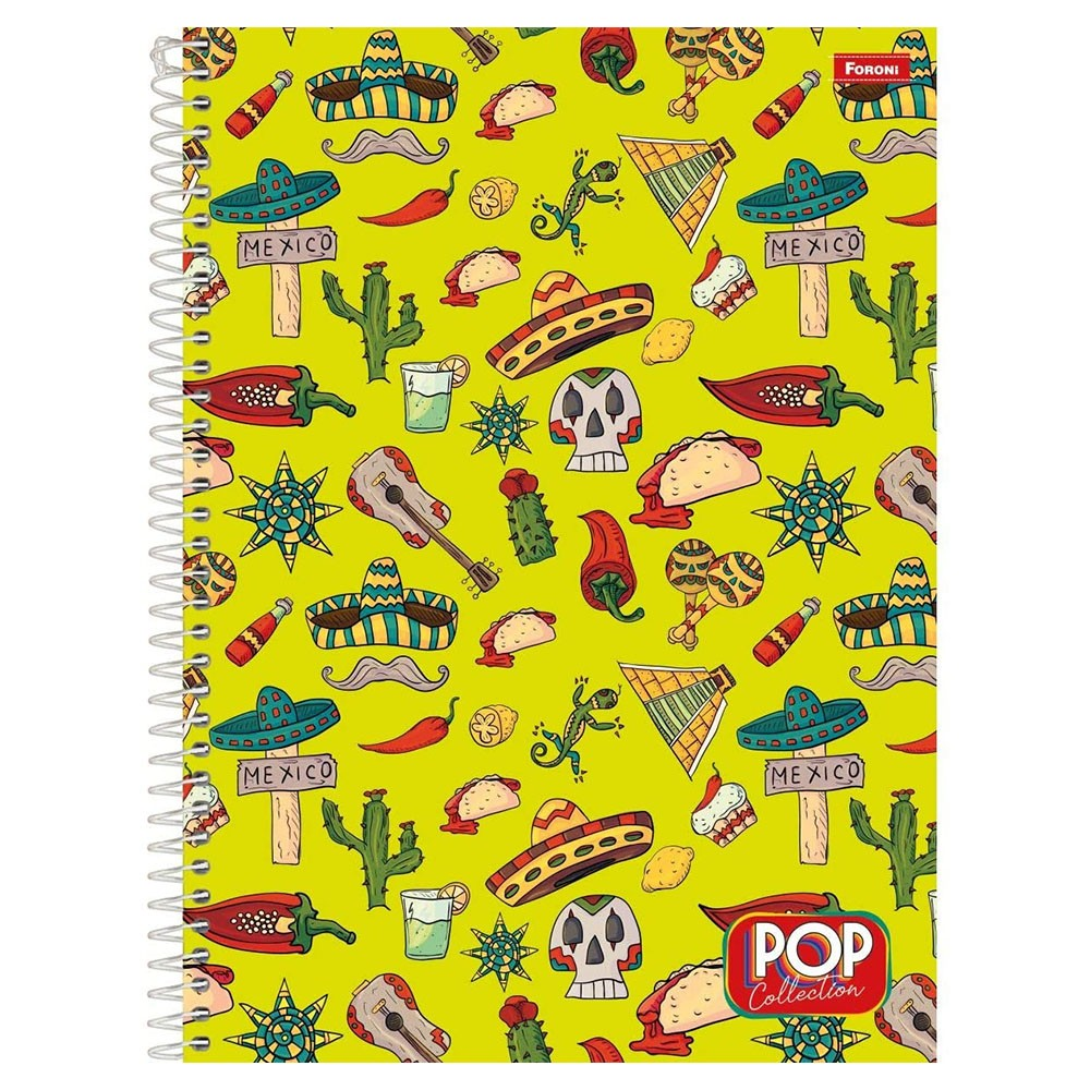 Caderno Universitário 1x1 CD 96 Folhas Pop Collection 1 Foroni  - INK House