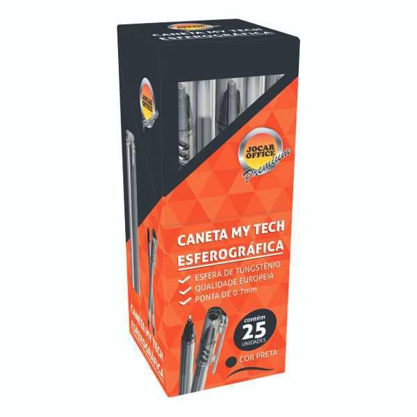 Caneta Esferográfica My Tech 0,7mm Jocar Office Preta - Caixa c/ 25 unidades