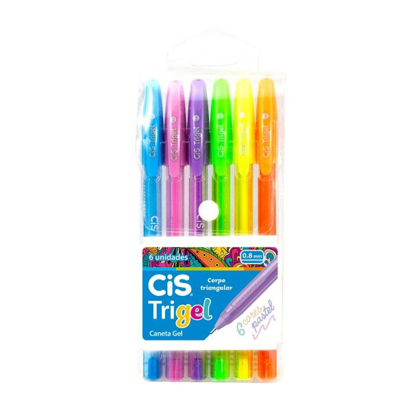 Caneta Gel 6 Cores Pastel Trigel Cis  - INK House