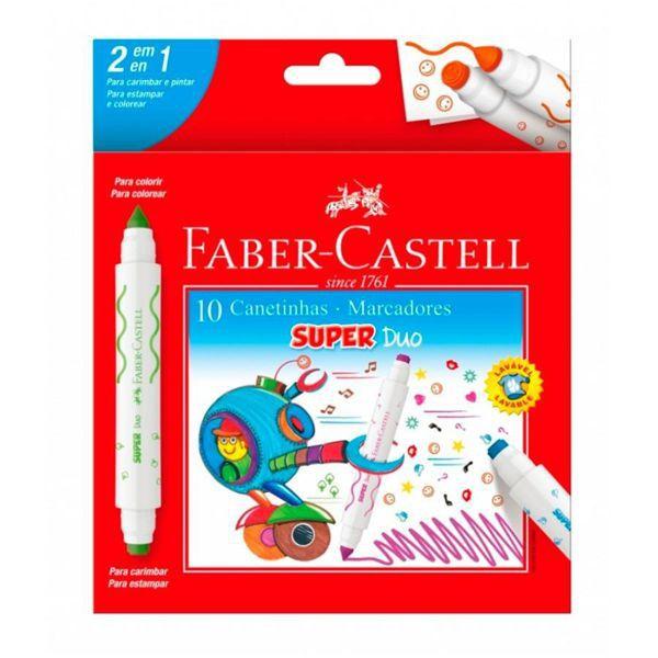 Caneta Hidrográfica Super Duo 10 Cores Faber Castell
