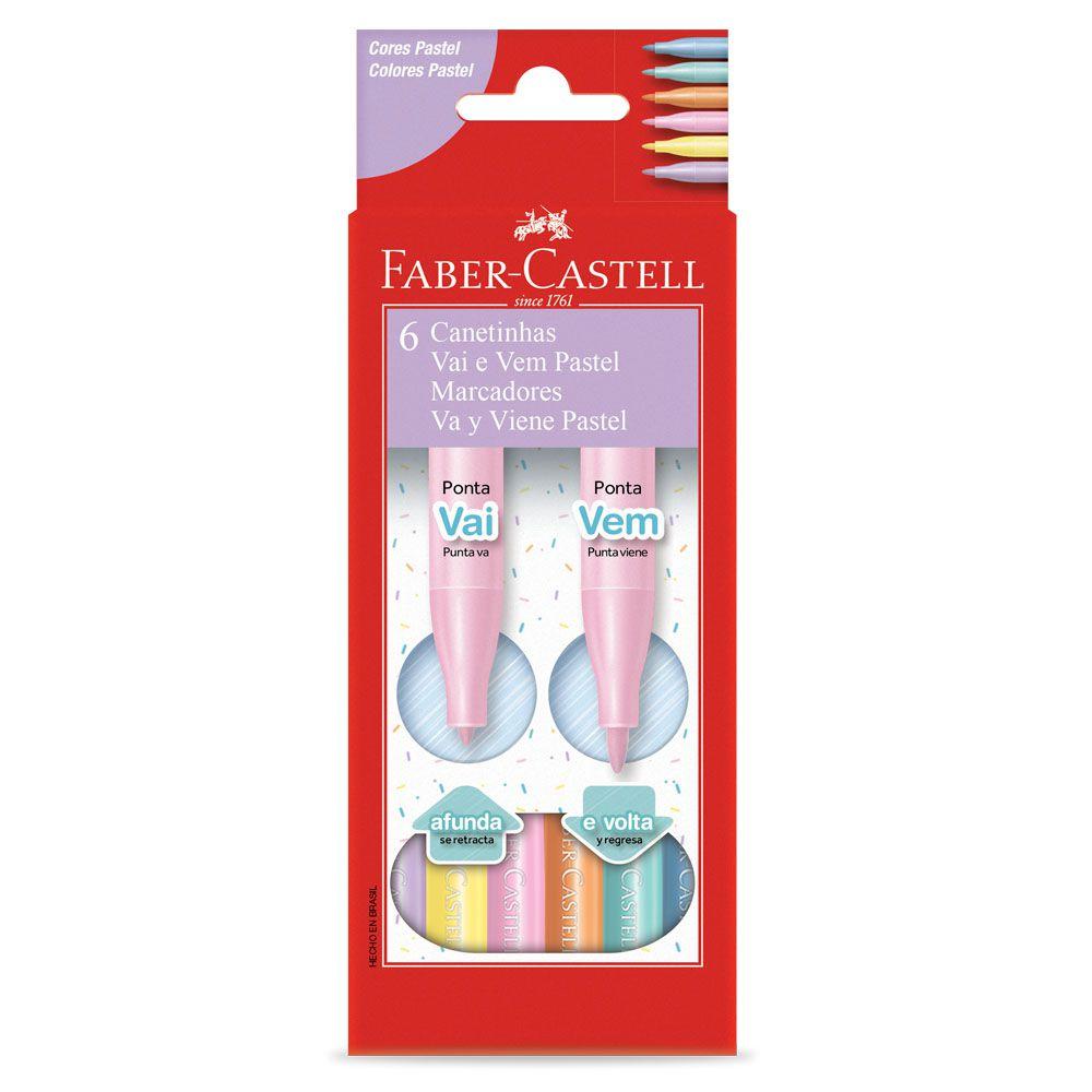 Caneta Hidrográfica Vai e Vem Pastel 6 Cores Faber Castell