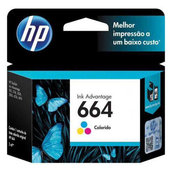 Cartucho HP 664 Colorido Original F6V28AB p/ HP 2136 2676 3776 5076 5276
