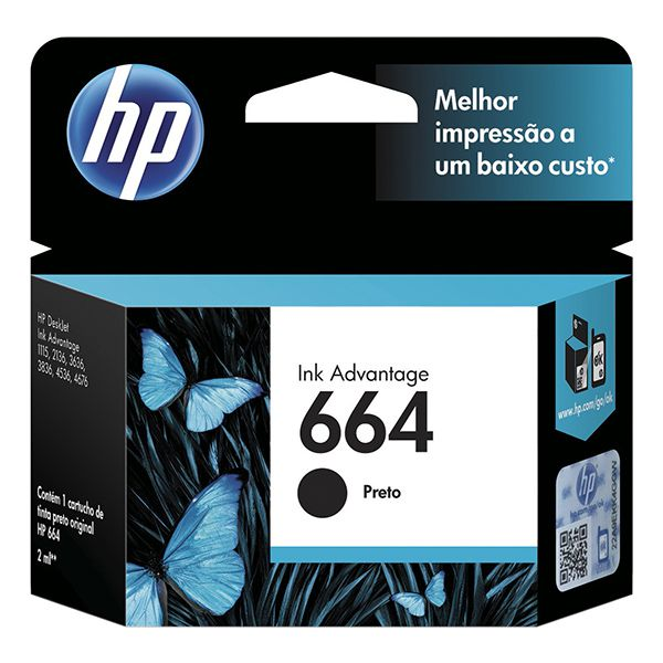 Cartucho HP 664 Preto Original F6V29AB p/ HP 2136 2676 3776 5076 5276  - INK House