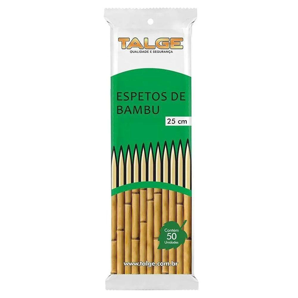 Espeto de Bambu Palito Churrasco 25cm 50 unidades Talge