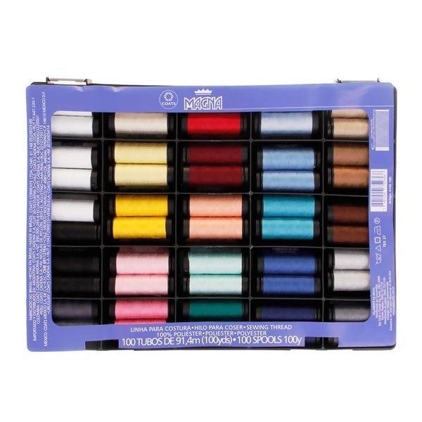 Estojo com 100 Linhas de Costura Coloridas Magna