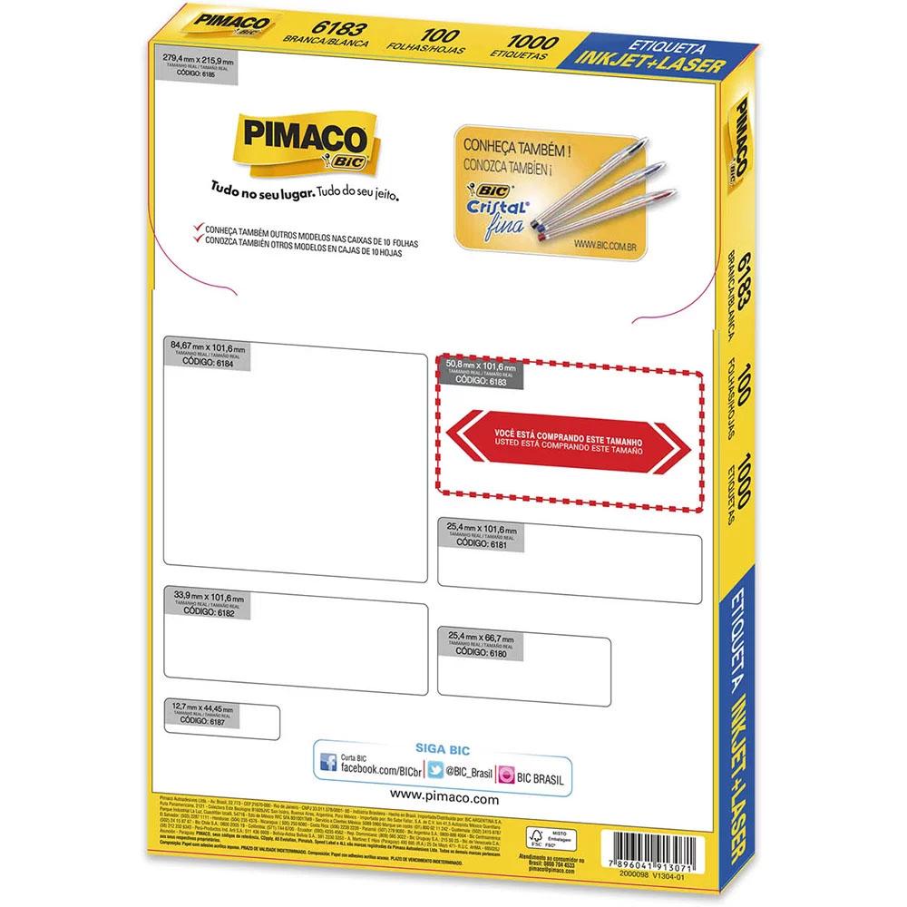 Etiqueta 6183 Inkjet e Laser 1000 Unidades Pimaco