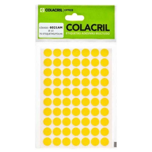 Etiqueta Adesiva Redonda 13mm Amarela 6 Folhas Colacril
