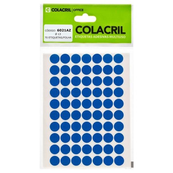 Etiqueta Adesiva Redonda 13mm Azul 6 Folhas Colacril  - INK House