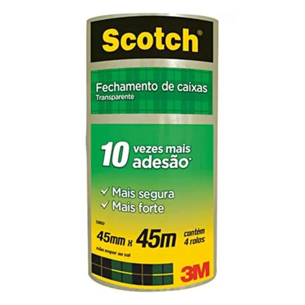 Fita Adesiva 45mm x 45m Transparente 4 Unidades Scotch 3M