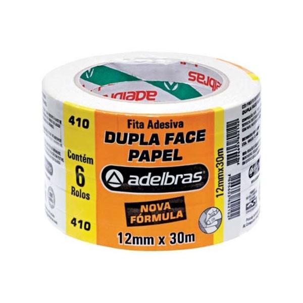 Fita Dupla Face de Papel 12mm x 30m 6 Unidades Adelbras