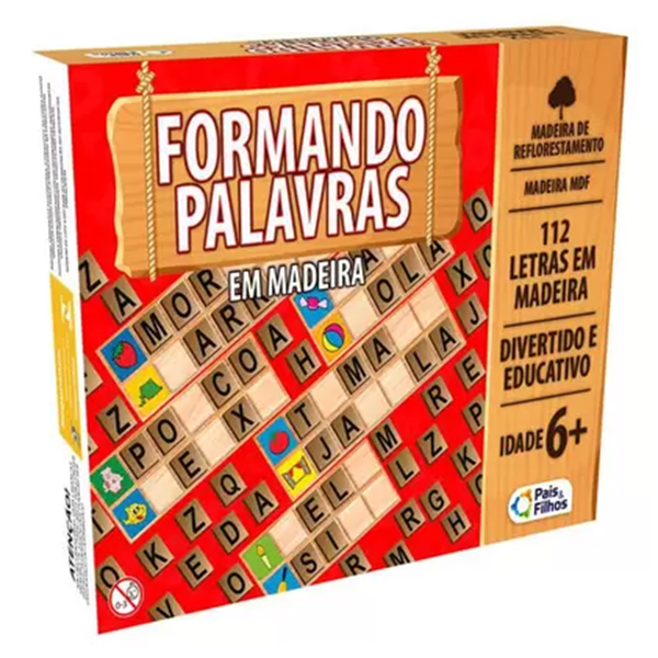 Formando Palavras em Madeira 112 Letras Pais e Filhos